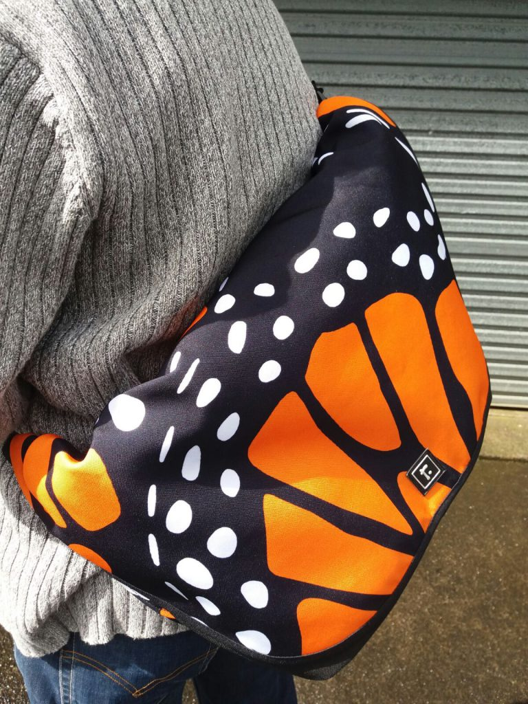large messenger bag with monarch butterfly design