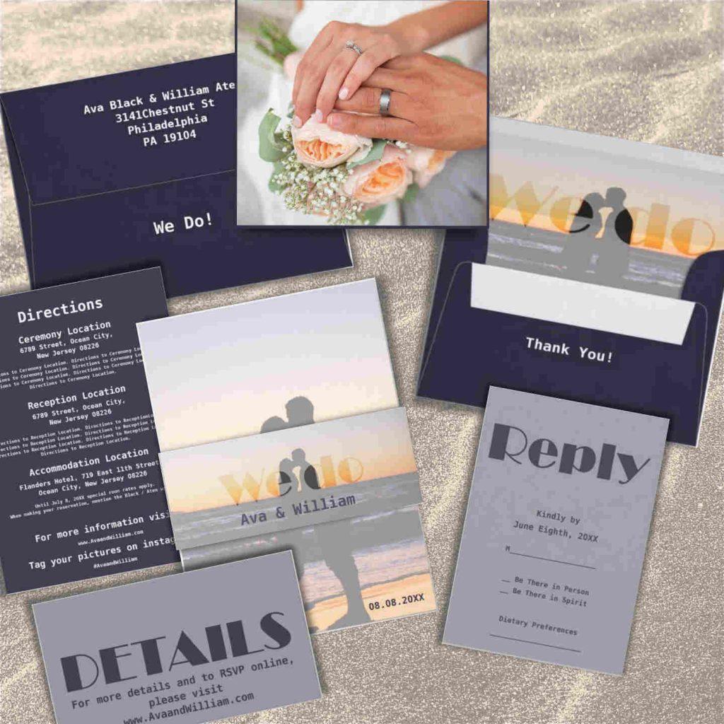 We Do, Beach Wedding Invitation