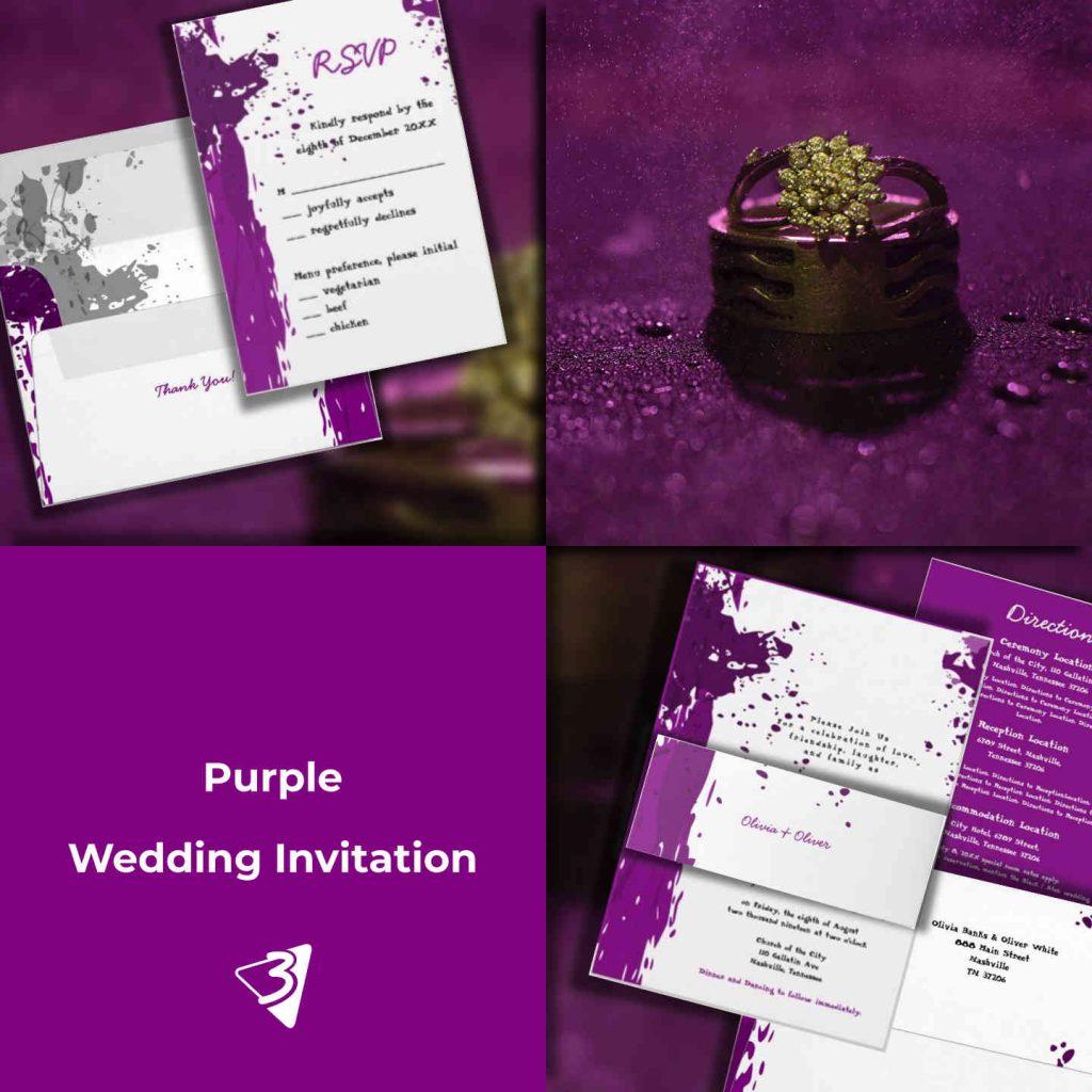 Purple Wedding Invitation Set