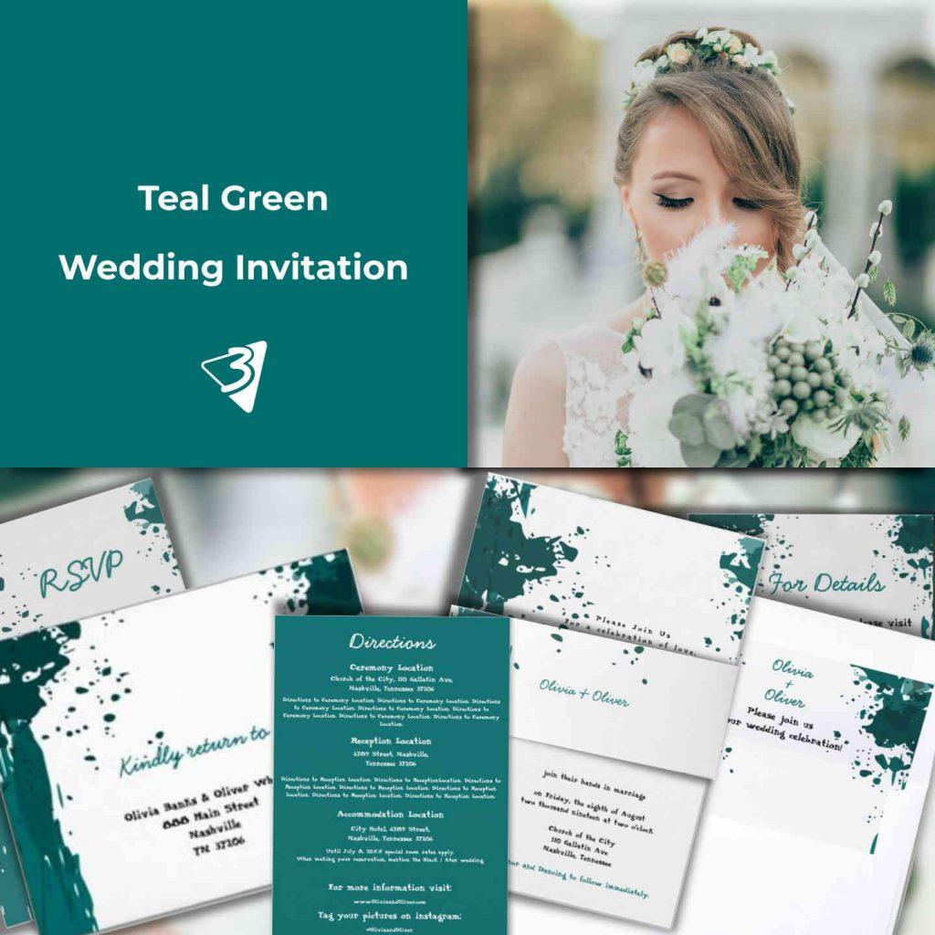 teal-green wedding invitation mood-board
