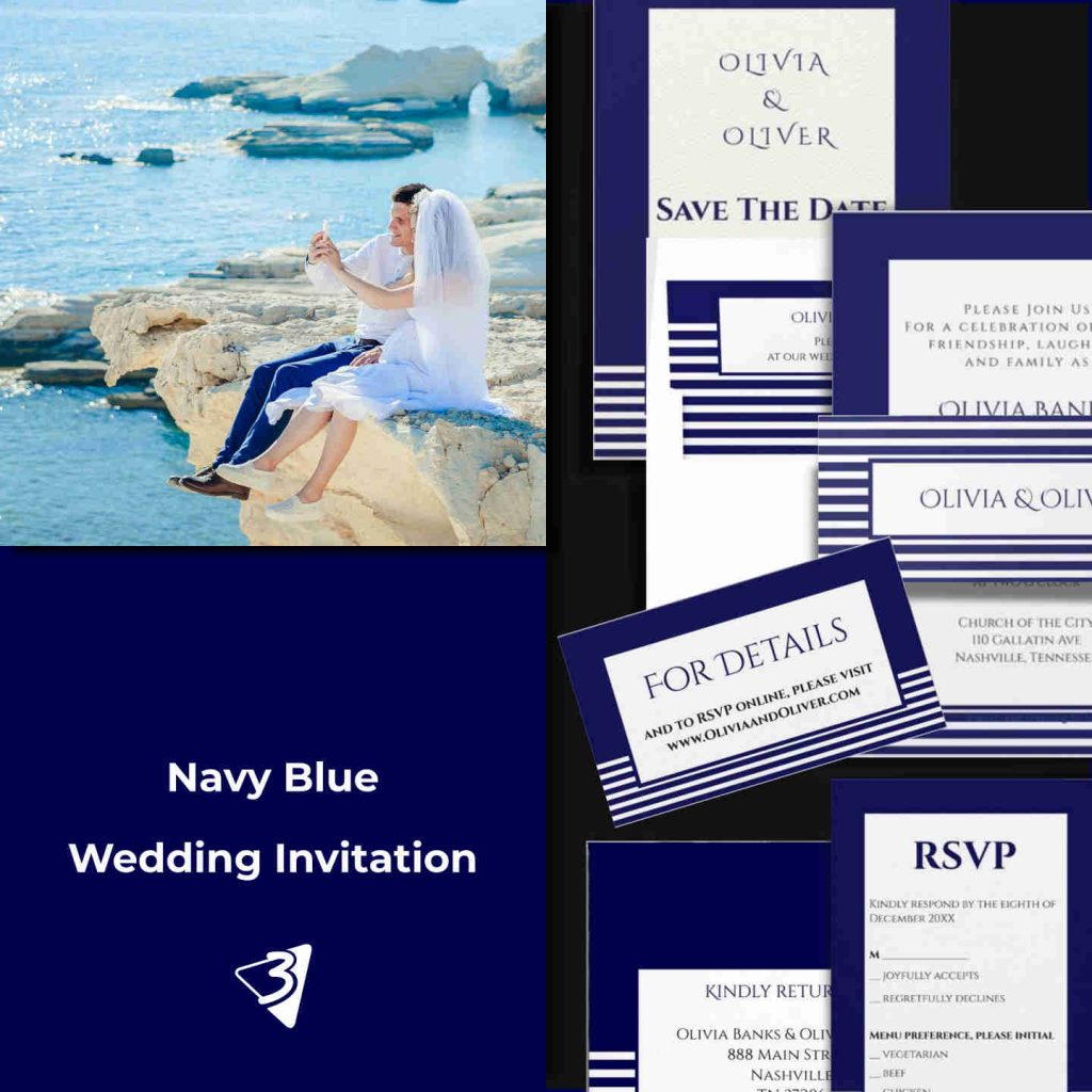 Blue an White Striped Wedding Invitation