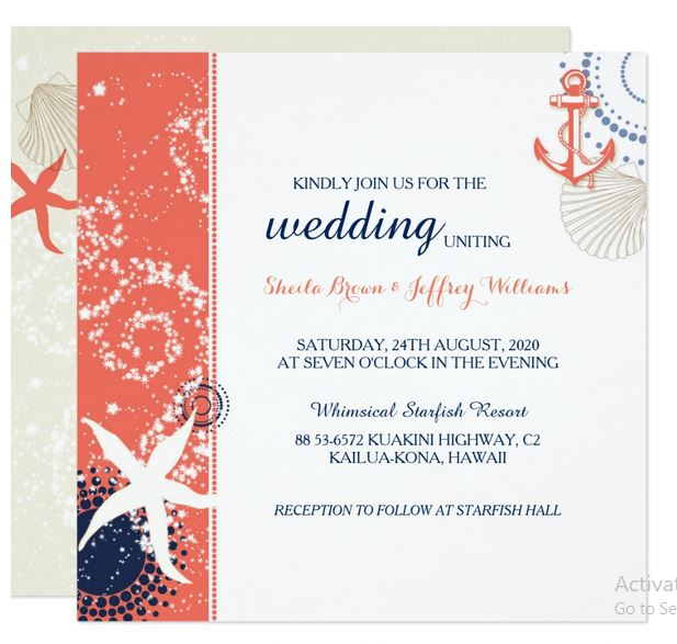 Coral and Blue Nautical Square Invitation by Ujean K.