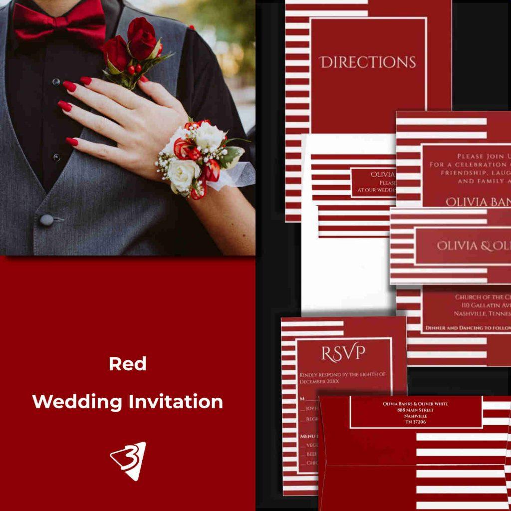 Red Wedding Invitation Set