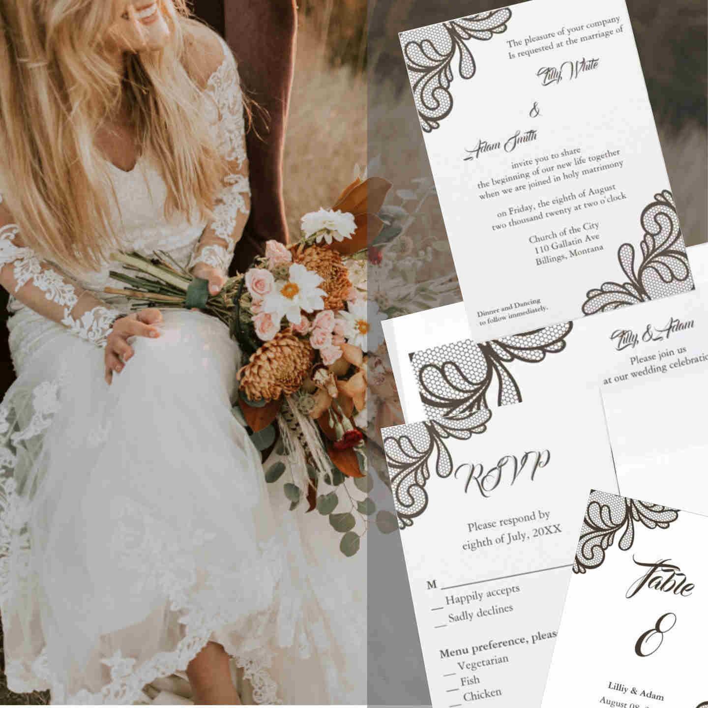 Vintage Brown Lace Wedding Invitation Design