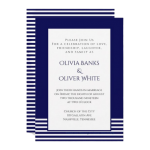blue striped wedding invitation