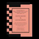 black and peach striped wedding invitation