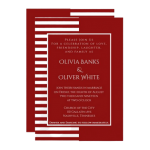 white and red striped wedding invitation