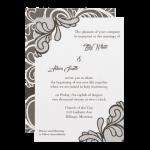 Brown Wedding Invitation - Lace Design