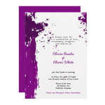 purple splatter wedding invitation