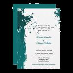 green splatter wedding invitation