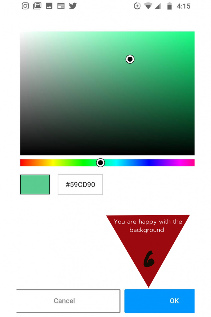 Step 6: Complete Once, the color works with your kitchen color scheme click OK