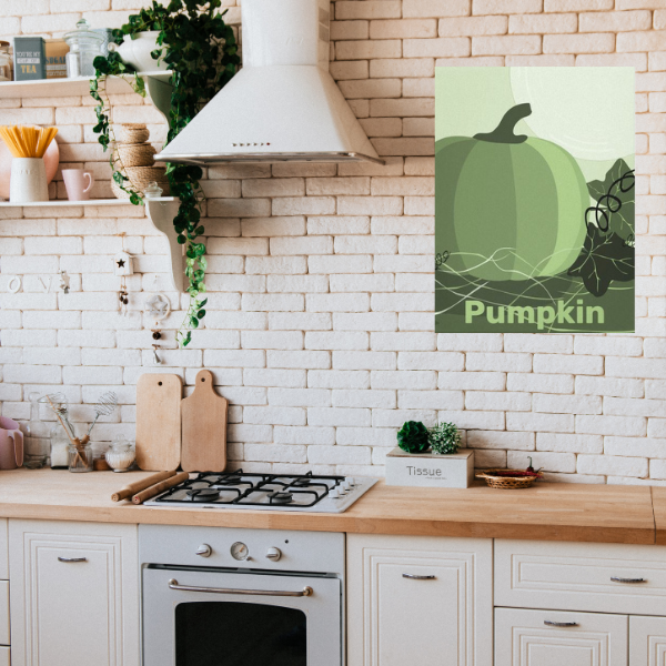 Green pumpkin wall decor for country style kitchen
