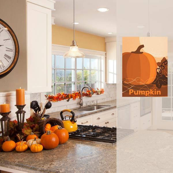 Orange pumpkin wall decor for modern style kitchen