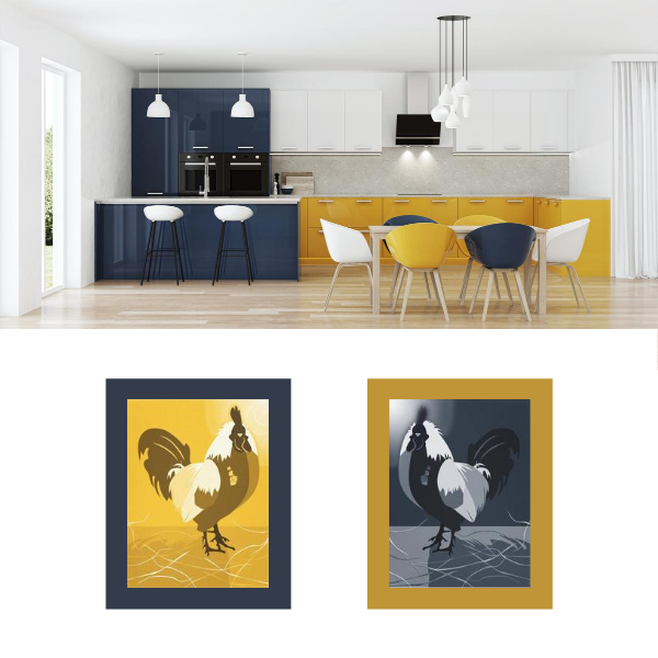 Rooster, yellow and blue kitchen wall decor