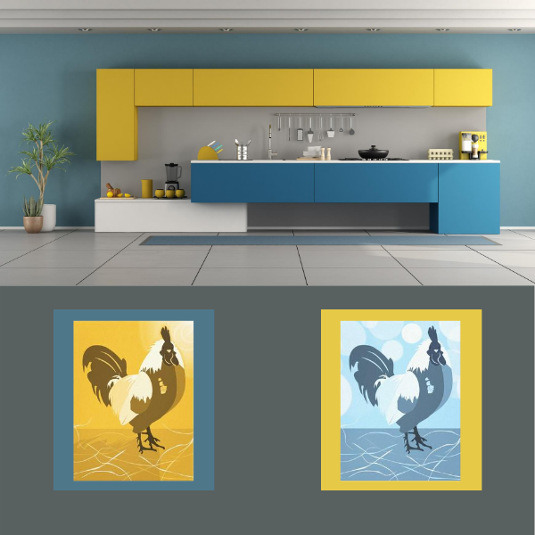 Rooster, yellow and blue kitchen wall art decor
