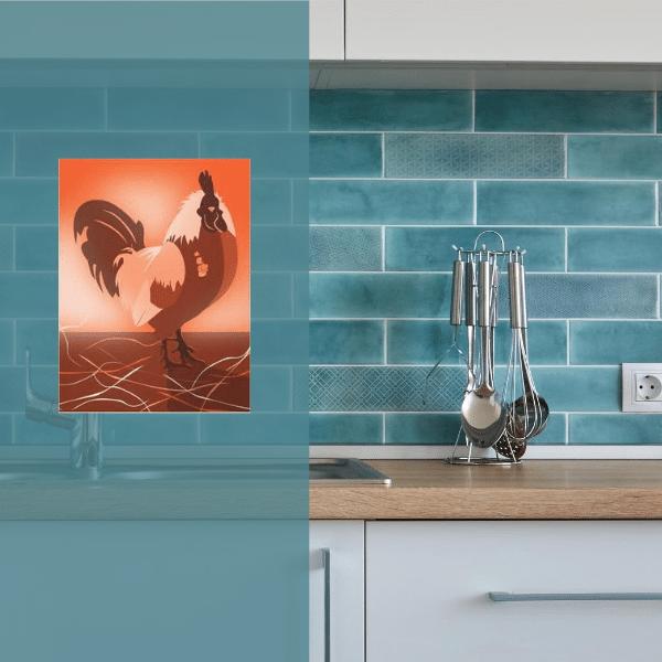 Orange rooster kitchen wall art in teal kitchen