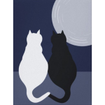 Black and white cats sitting companionably under the moonlight