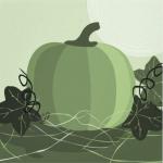Green pumpkin poster autumn kitchen wall decor