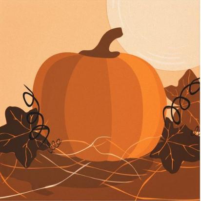 canvas print showing an golden orange pumpkin