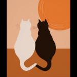 Orange modern cat wall decor