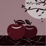 Red apple wall decor for kitchen