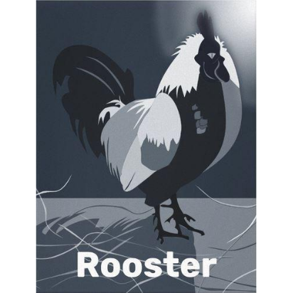 Dark blue rooster at moonlight with rooster caption as poster print