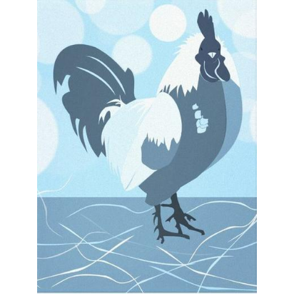 Light blue rooster, kitchen wall decor, canvas print