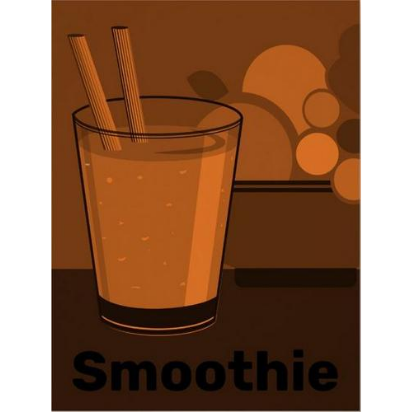 Orange smoothie, fruit kitchen decor