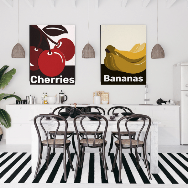 Modern Black and White Dining With Fruit Wall Art, Cherry and Banana Prints