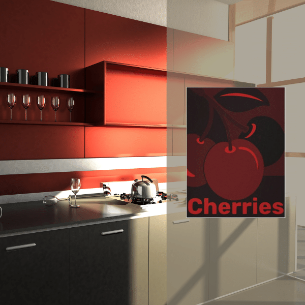 Modern Red And Grey Kitchen With Cherry Wall Decor