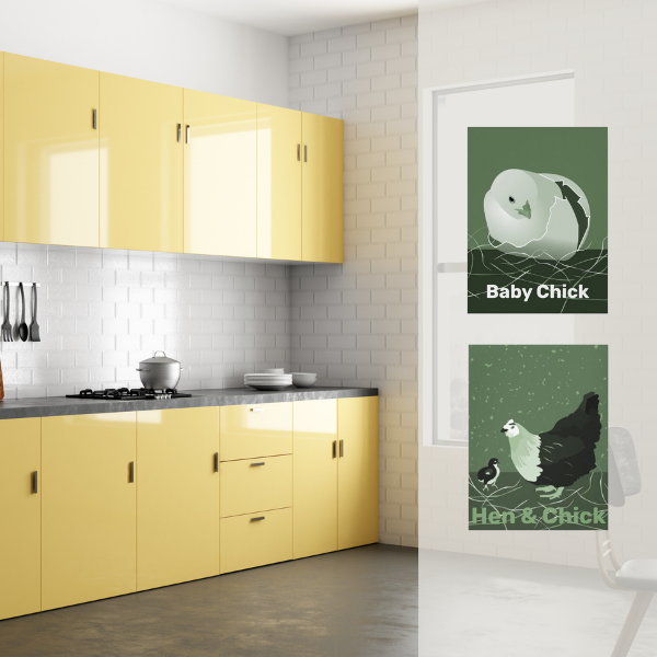 Green hen and chick canvas print in vanilla yellow kitchen