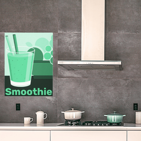 Green fruit smoothie in industrial style kitchen