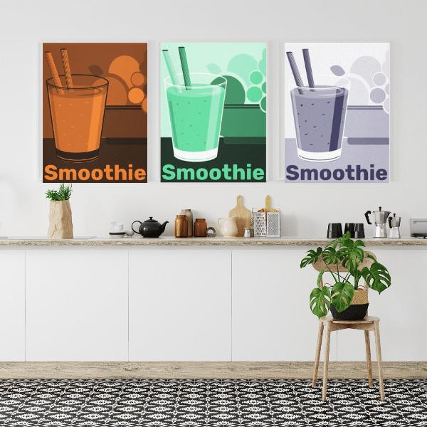 Fruit wall art decor in orange smoothie, green smoothie, blue smoothie