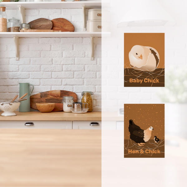 Orange hen and chick print in white kitchen with wooden counter