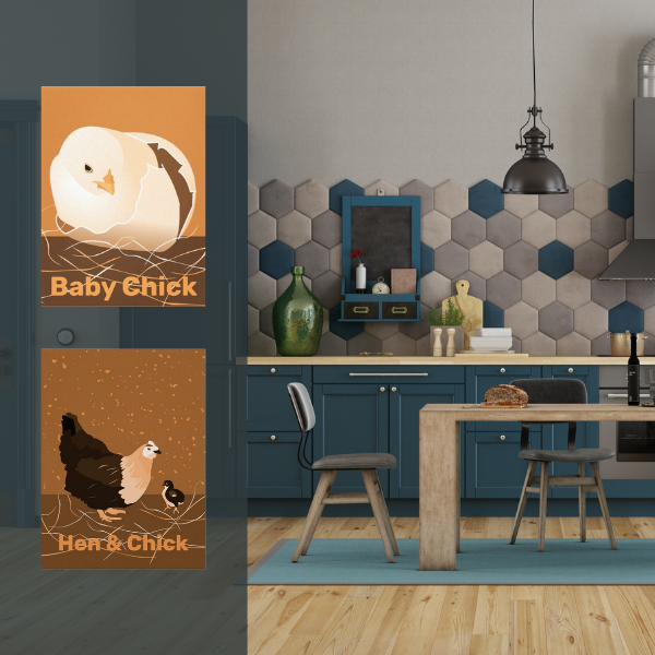 Orange hen and chick print and grey kitchen