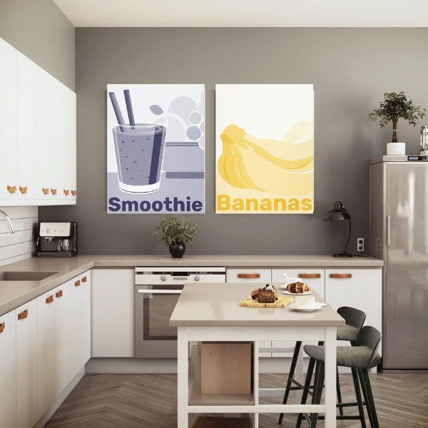 Contemporary Kitchen Wall Art Decor In Yellow And Purple