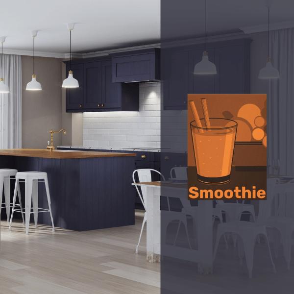 Dark Purple Kitchen with Orange Art Print
