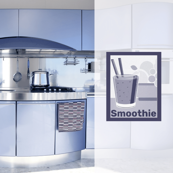 Lilac kitchen with purple-blue fruit wall decor