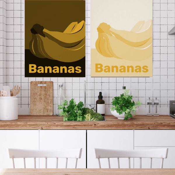 Yellow Banana Print For Kitchen