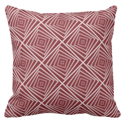 Red Pillow With Nested Square Spiral Pattern