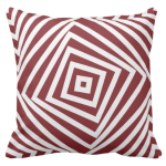 Red and white pillow with nested square pattern
