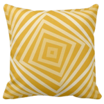Yellow pillow with nested square spiral pattern