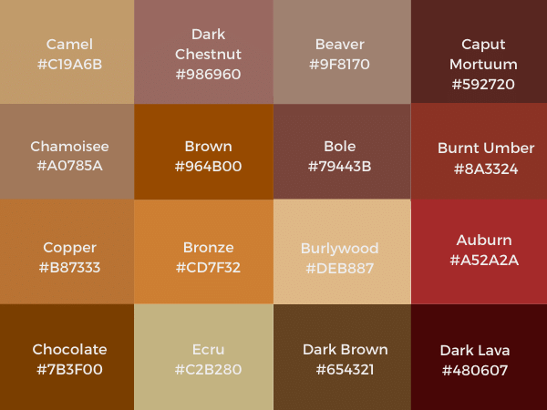 different shades of brown color