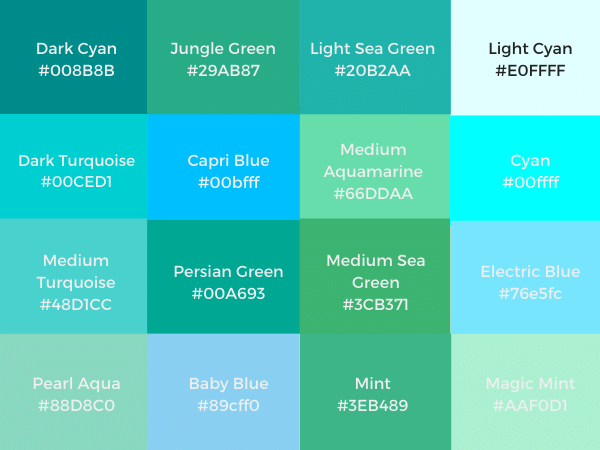 Different Shades Of Turquoise