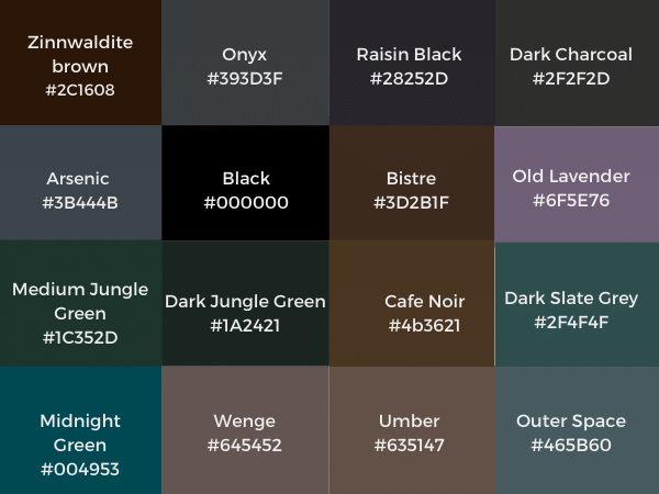 shades of black color