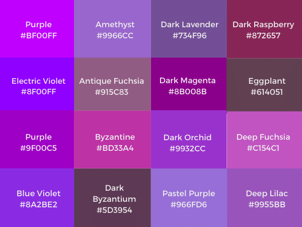 shades of purple color