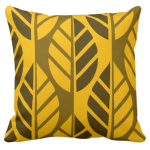 Leaf pattern design on yellow pillow