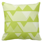 Lime-green triangle repeat pattern on square throw cushion