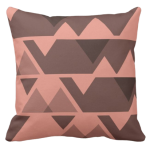 Sandy-orange triangle repeat pattern on square throw pillow