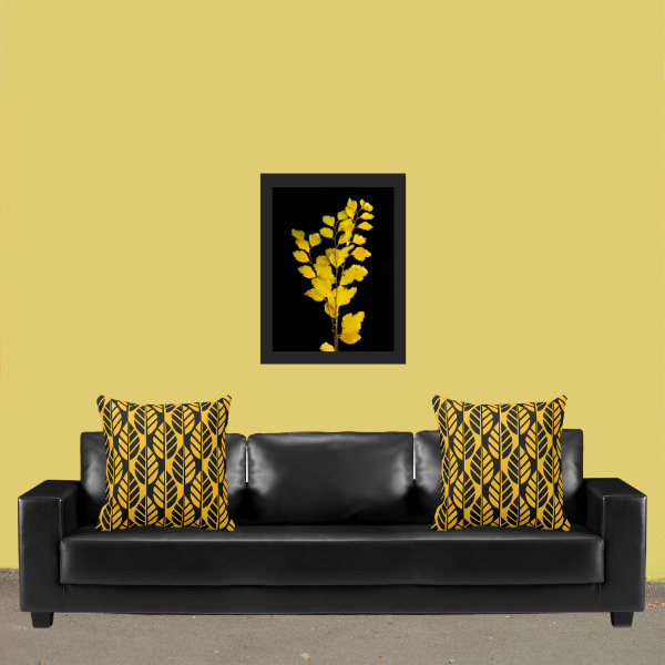 Yellow and black throw pillows